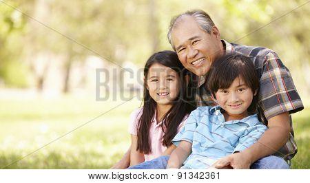 Portrait Asian grandfather and grandchildren in park