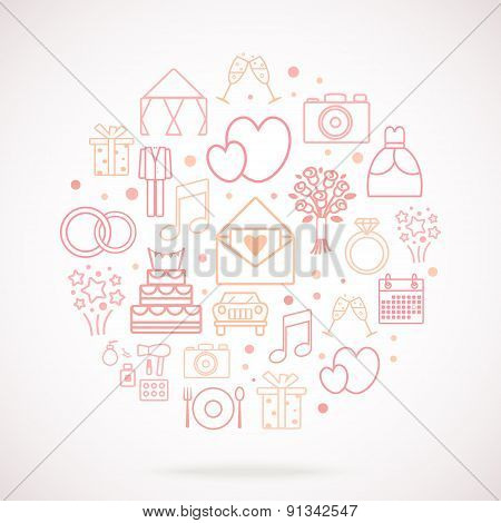 Set Of Wedding Vector Icons, Groupped In Circle.