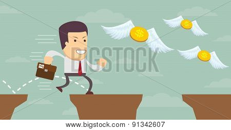 Man in search of money. Stock Vector illustration.