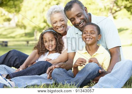 African American Grandparents With Grandchildren Relaxing In Park