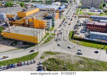 Bird eye view on Ochakovo factory. Tyumen. Russia