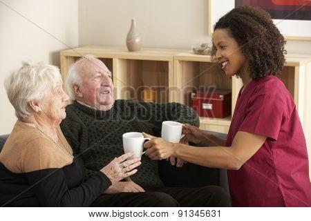 Nurse visiting senior couple at home