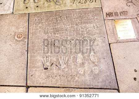Handprints Of Adolph Zukor In Hollywood Boulevard In The Concrete Of Chinese Theatre's Forecourt