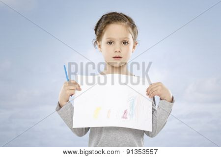 Five years girl and her drawing