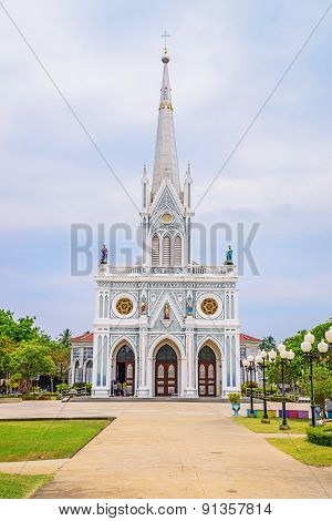 White Christian Church, Samut Songkhram Province, Thailand. poster