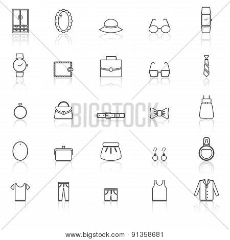 Dressing Line Icons With Reflect On White