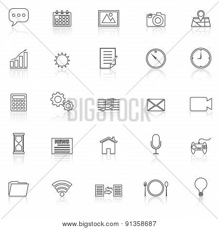 Application Line Icons With Reflect On White