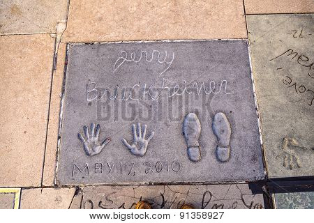 Handprints Of Jerry Bruckheimer In Hollywood Boulevard In The Concrete Of Chinese Theatre's Forecour