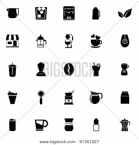 Coffee And Tea Icons On White Background