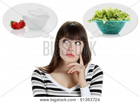 Diet. Dieting concept. Healthy Food. Beautiful Young Woman choosing between Fruits and Sweets. Weight Loss poster