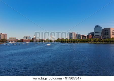 Boston from Longfellow Bridge in Massachusetts USA