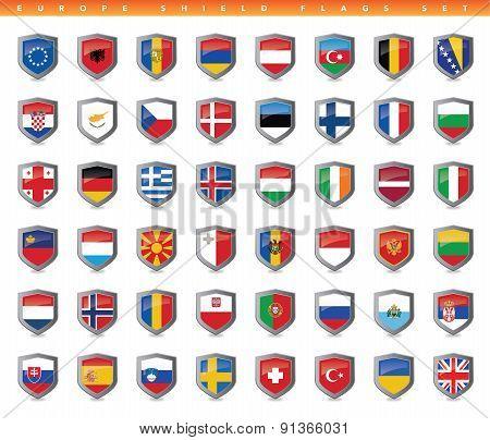 Europe Shield Flags Set