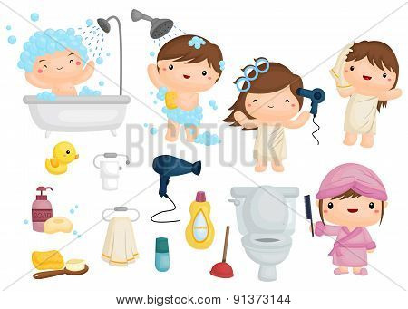 Bath Time Vector Set