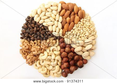 Assorted Nuts In The Form Of A Circle