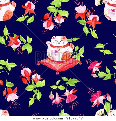 Navy Background With Chinese Fuchsia And Lucky Cats Sitting On The Pillows