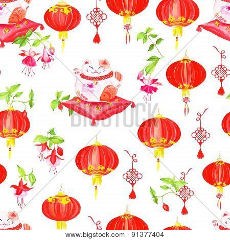 Chinese Print With Lanterns, Fuchsia And Lucky Cats. Watercolor Seamless Vector.