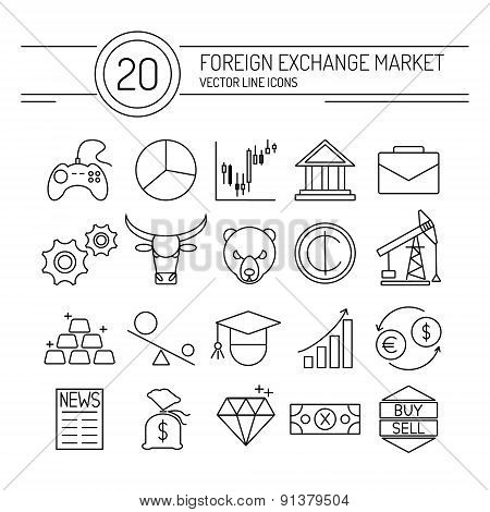 20 financial icons collection in modern flat style. Easy editable elements for your web site interface. Perfect line icons set for forex broker. poster
