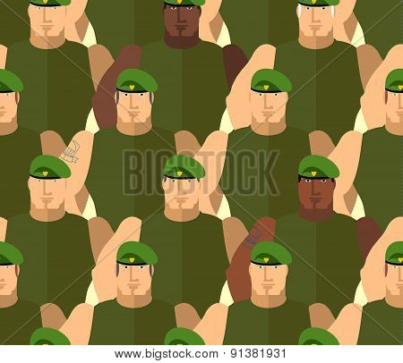 Soldiers in Green Berets. Special forces. Army seamless background of people. Marines in green t-shirts. Military vector background poster