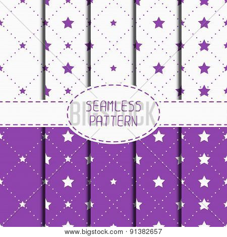 Set of purple hipster fashion geometric seamless pattern with diamond. Collection of wrapping paper.