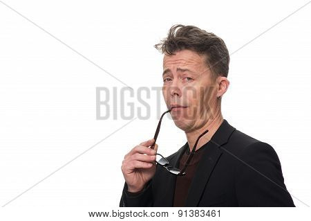 Businessman Showing Dismissive Shrug Against White