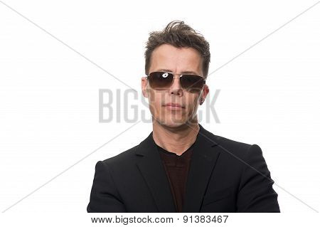 Businessman Wearing Sunglasses Isolated On White