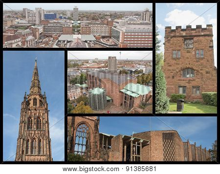 Landmarks collage of the city of Coventry including the St Michael cathedral poster