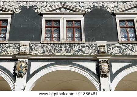 Front Part Above Arcade Of Stables Courtyard (stallhof) In Dresden, Germany.