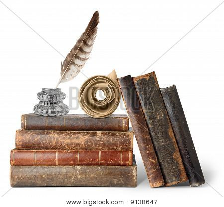 Old Books, Inkstand And Scroll