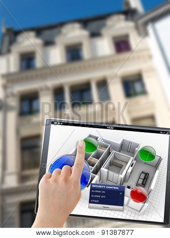 3D rendering of a tablet with an apartment control panel, in front of a building