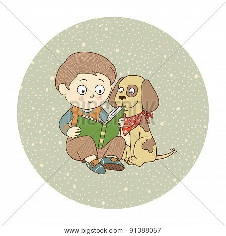 Vector color illustration: Boy and dog read the book