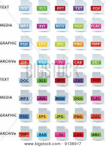 Text Media Graphic And Archive Icon, Set Of 2 Color