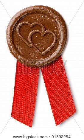 Brown Wax Seal With Hearts