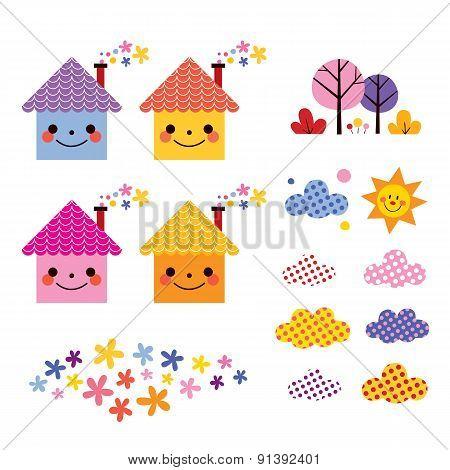 cute houses kids design elements set
