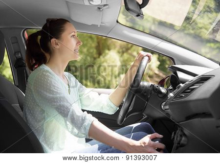 Woman Driving Her Car.