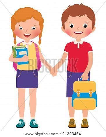 Children Boy And Girl Pupils Of The School