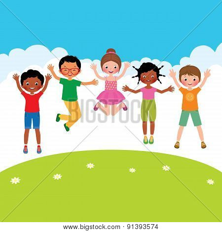 Group Of Happy Jumping Children Of Different Nationalities