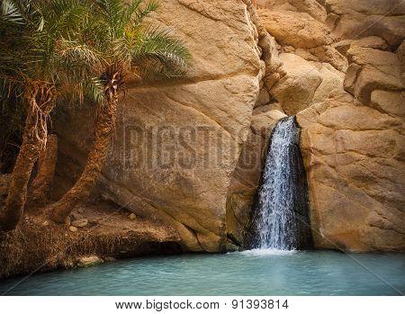 View Of Mountain Oasis Chebika, Sahara Desert, Tunisia, Africa