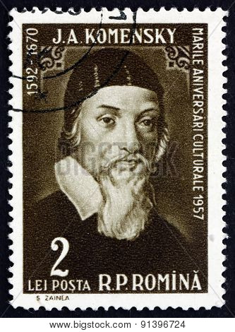Postage Stamp Romania 1958 Jan Amos Komensky, Czech Philosopher
