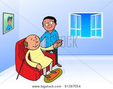 Illustration of a young son helping his old father to sit, showing love towards father for Happy Father's Day celebration.