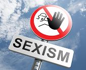 stop sexism no gender discrimination and prejudice or stereotyping for women or men poster