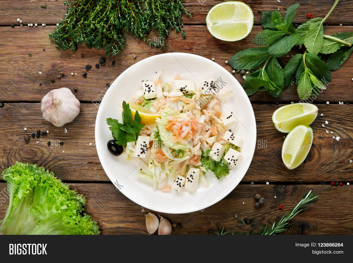 Restaurant Healthy Food Fish Salad Smoked Salty Salmon At Rustic Wooden Background With