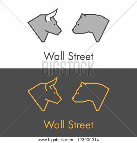 Vector symbol work on Wall Street. Modern bull and bear icon. Golden logo for online trading.