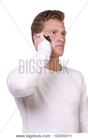 Casual Man Talking On A Cell Phone