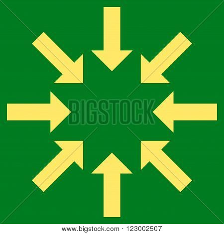 Collapse Arrows vector pictogram. Image style is flat collapse arrows icon symbol drawn with yellow color on a green background.