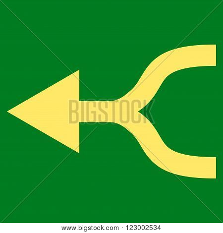 Combine Arrow Left vector symbol. Image style is flat combine arrow left iconic symbol drawn with yellow color on a green background.