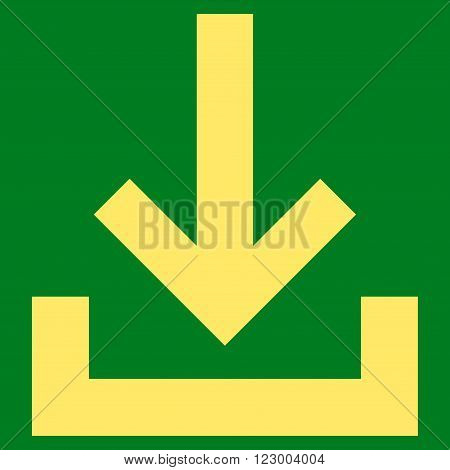 Inbox vector symbol. Image style is flat inbox pictogram symbol drawn with yellow color on a green background.