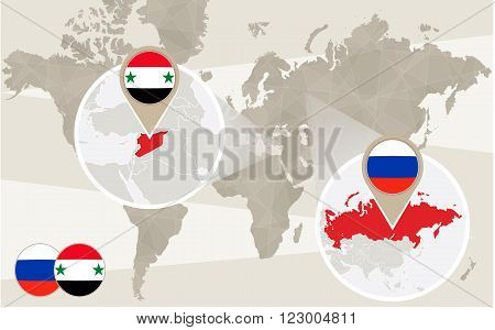 World map zoom on Syria Russia. Conflict. Vector Illustration.