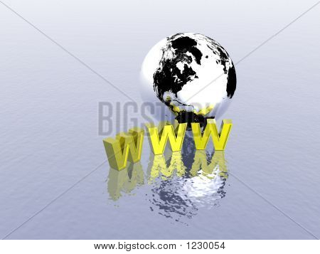 3d world wide web internet symbol and globe (see more in my portfolio) poster