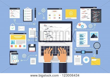 Programming and coding, website development. Flat design style modern vector illustration.