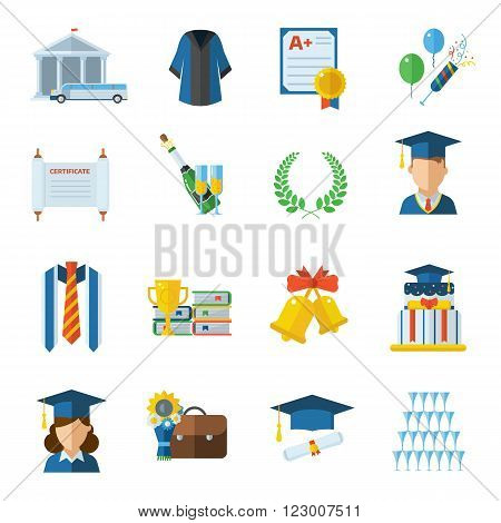 Graduation vector icon set. Man and woman graduates in graduation hat and gown. Graduation elements in flat design isolated on white. Graduation day vector objects.